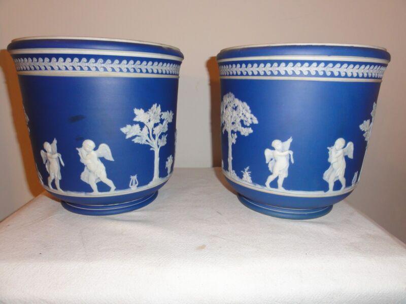 "Pair Antique 19th cen English ""Wedgewood"" jasperware cobalt unmarked planters"