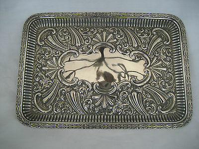 LARGE EDWARDIAN SOLID SILVER DRESSING TABLE TRAY -  Lee & Wigfull, 1902