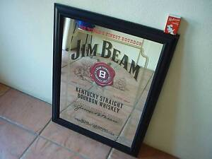 Gold Black and Red Jim Beam Bourbon Whiskey Bar Mirror - Sign Prospect Launceston Area Preview