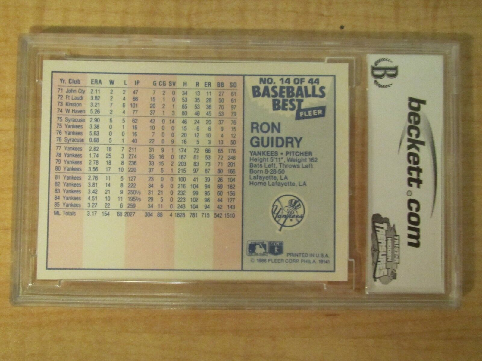 1986 Fleer Sluggers/Pitchers Baseball Ron Guidry 14 Of 44 BGS BCCG 10 Mint  - $24.99