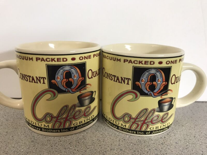 2 World Market Constant Q Quality Medium Grind Murray Brothers Coffee Mugs Cups