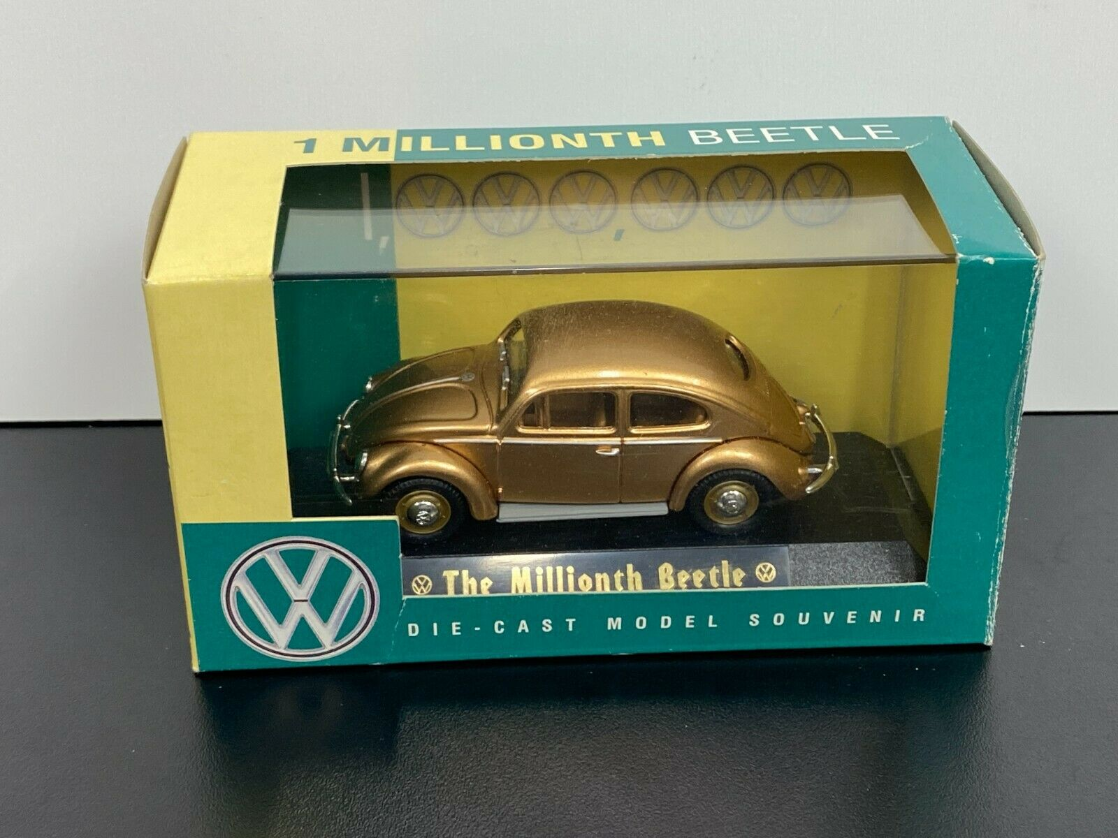NOS Vintage LLEDO Volkswagen Oval Window 1955 VW Millionth Beetle Die-Cast GOLD - $28.00