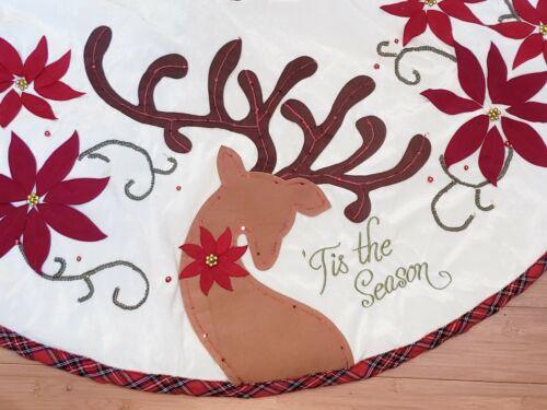 "Pier 1 Imports Deer & Red Poinsettia Christmas Tree Skirt Beads Plaid Trim 48"""