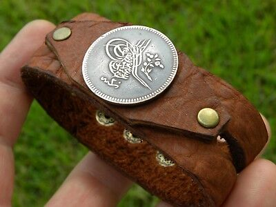 Tugra Vintage authentic  Ottoman coin cuff bracelet customize size Bison leather