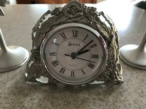 Seagull Pewter Clock and Candlesticks