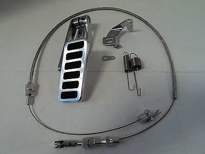 (Billet Aluminum 6 Pad Gas Pedal / Stainless Throttle Cable / Bracket Spring Kit)