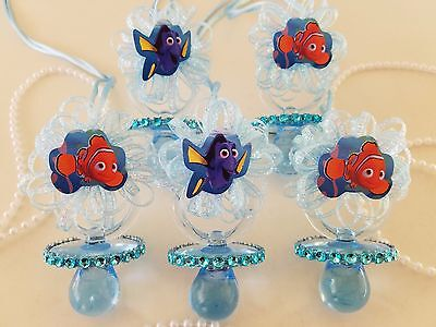 Nemo & Dory 12 Blue Pacifier Necklaces Baby Shower Game Under The Sea Boy - Nemo Baby Shower
