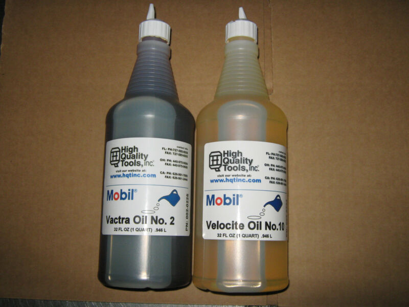 1 QUART/ea  MOBIL WAY OIL VACTRA 2 & SPINDLE OIL VELOCITE 10 MILL LATHE GRINDER