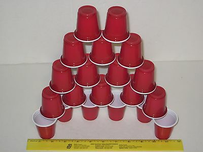 Red Mini Plastic Cups 2oz Party Size - Magic Prop, Shot Glass, Jello Shooters