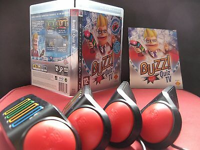 Buzz Quiz TV Game - PS3 Includes Wired Buzzers + Instructions * Fully Tested *