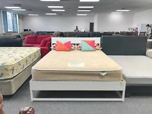 DELIVERY TODAY MODERN WHITE wood queen bed frame (mattress avail) Belmont Belmont Area Preview