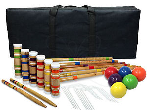 Croquet Set With Case For 6 Players Classic Outdoor Yard Game