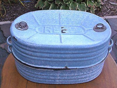 - Vtg Primitive Farm Country Kitchen Enamelware Graniteware Reed Blue Roasting Pan