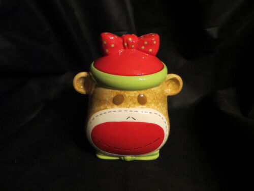 """Fantastic condition """"GIRL Sock Monkey Cookie Jar"""" by Real Home"""