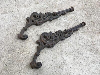 Pair of Antique Cast Iron Shelf Bracket Ends As Shown