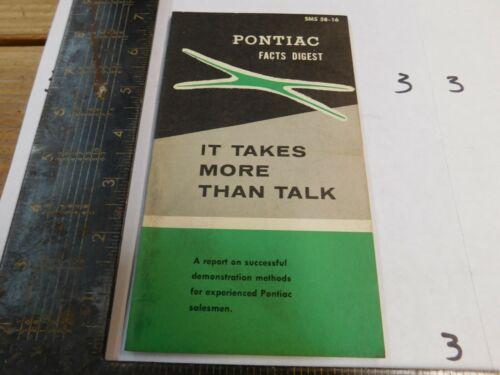 1958 PONTIAC FACTS DIGEST    DEALER USE ORIGINAL