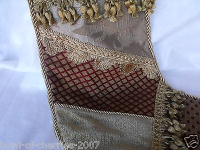 Fabric Patchwork Christmas Stocking, Red & Gold Designs & Gold Tassels, 18-19""