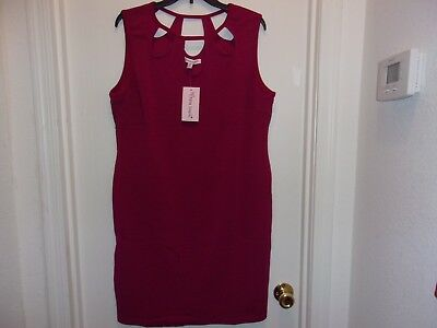 Women's NWT Beautiful Black Raspberry Dress w Keyhole Cutout Sz 2X or 3X On Sale