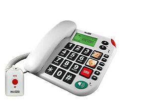 Pflegeruf-Set Senioren-Notruf-Telefon mit Notruf-Sender und Adapterstecker
