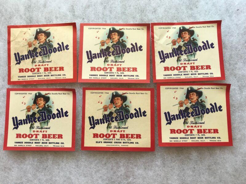 Six 1944 Yankee Doodle Root Beer Unused Bottle Labels, Leavenworth Kansas