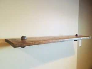 Industrial Rustic Stained Wood Shelf***