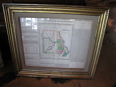 Antique Early 19th Century Geographical Statistical & Historical Map of Missouri
