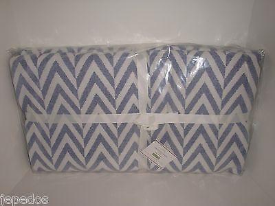 Pottery Barn Chevron Twilight Blue White King Blanket NIP Zig Zag Jersey Knit on Lookza