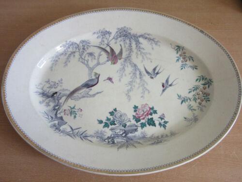 "Antique Thomas Elsmore & Son Imperial Transferware 19.75"" platter w/ birds"