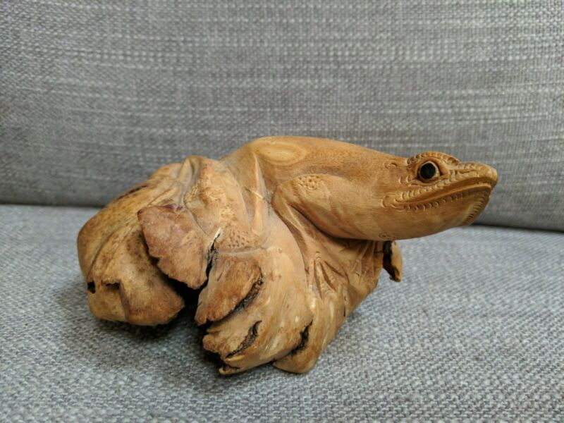 Hand Carved Wooden Frog