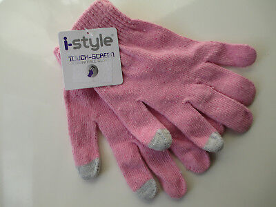 Touch Screen Pink Winter Gloves Juniors Girls i-Style