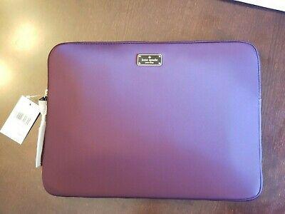 Brand NewKate Spade laptop sleeve case beautiful deep plum, gold logo with tags
