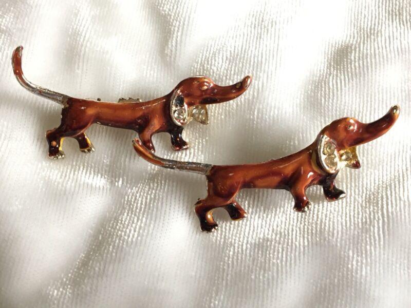 "Pair Vintage Dachshund Dogs Scatter Pins Lot Brown Enamel Rhinestone 1.75"""