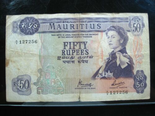 MAURITIUS 25 RUPEES 1967 BRITISH QUEEN BANKCHOP 56# Currency Bank Money Banknote
