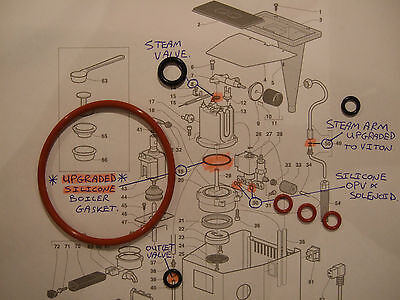 Gaggia Classic,7x O Ring Repair kit, Silicone Boiler Seal,Steam Arm,Opv,steam