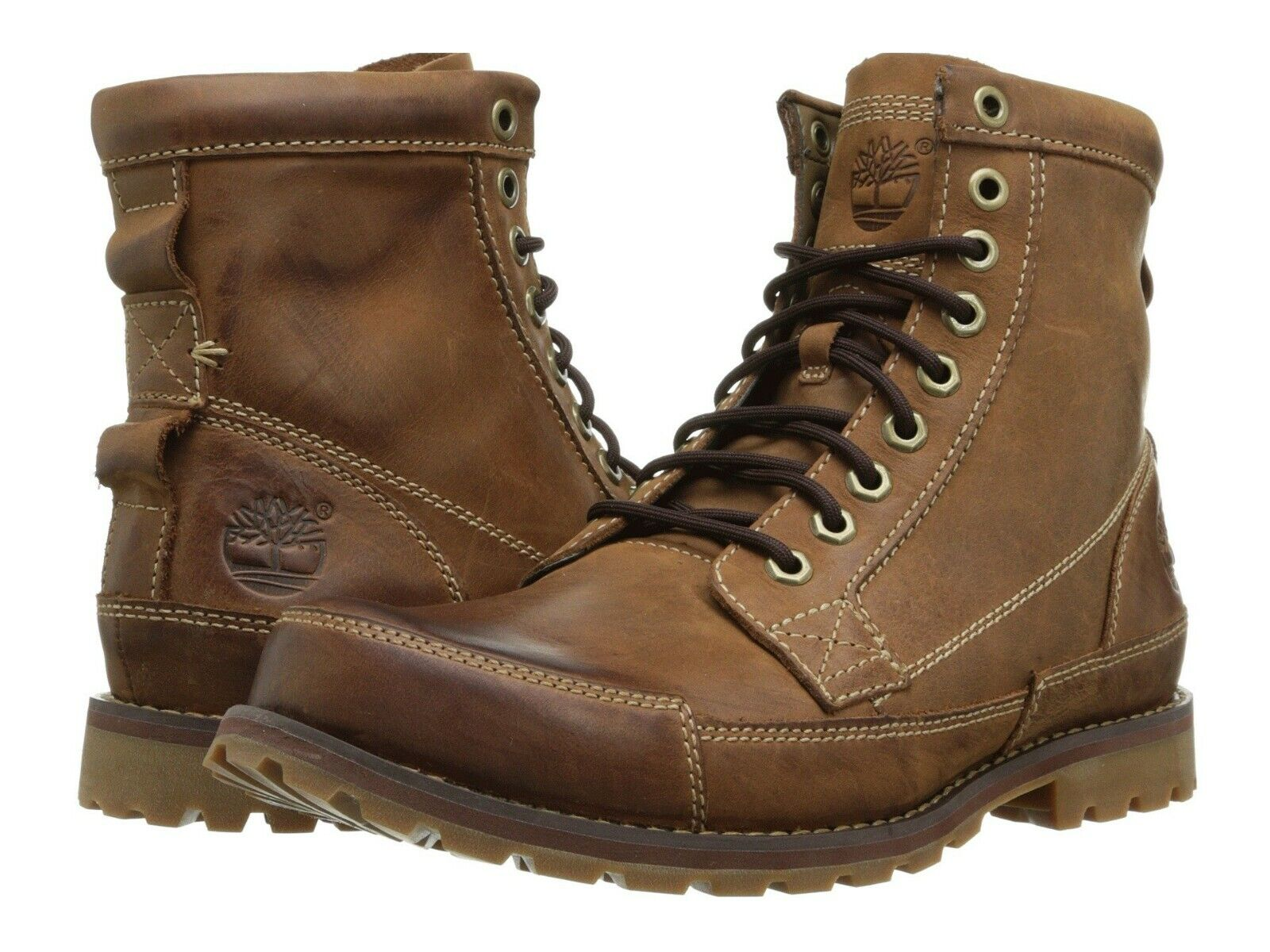 Timberland Men's Earthkeepers Original Leather 6 Inch Boots Red Brown Burnished
