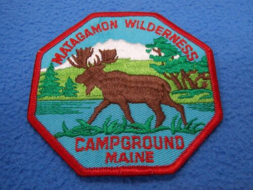 BSA MATAGAMON WILDERNESS CAMPGROUND MAINE MOOSE 8 SIDED PATCH - MINT