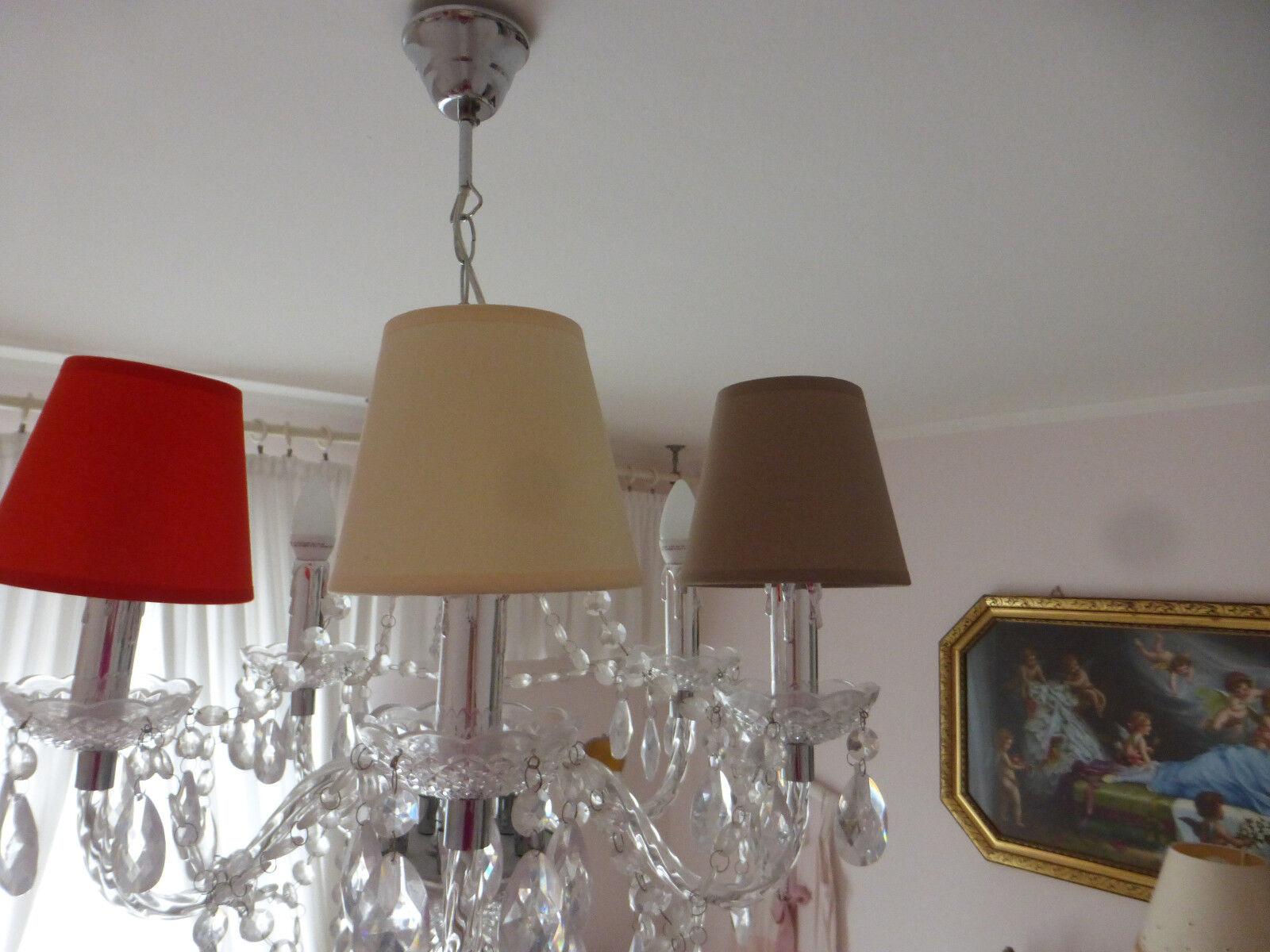 Lampenschirm Klemmschirm Creme, Braun Taupe .14x9x12cm Kronleuchter Lüster Clip