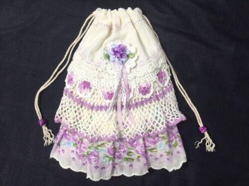 Flour sack HM Gift pouch w/ Western Kansas Vintage HM laces and hankie finds