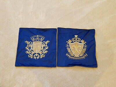Navy Gold Velvet Crown Emblem Cushion Cover Set versace baroque  royal style