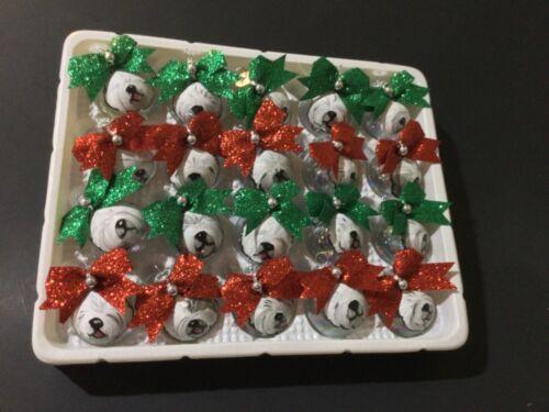 20 hand painted Old English sheepdog mini glass Christmas ornaments