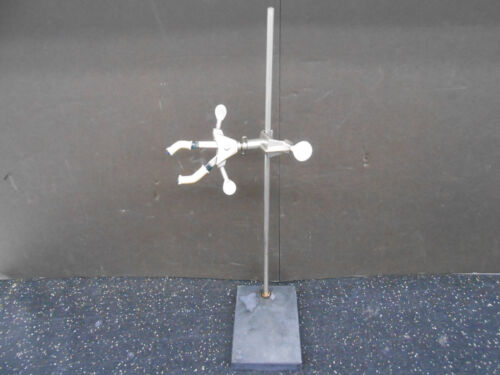 """BLACK COMPOSITE LABORATORY STAND 4"""" X 6"""" X 17.5"""" WITH 3 PRONG CASTALOY CLAMP"""