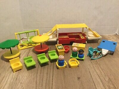 Fisher Price Vintage 1979 Little People Family Pop-Up Camper  #992 Swing Set