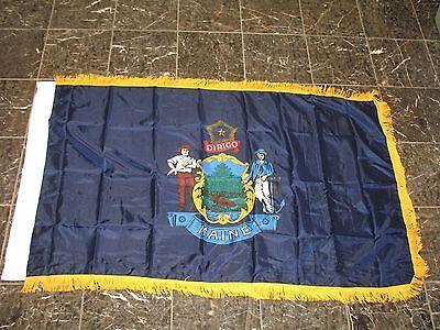 3x5 Maine State Poly Nylon Sleeve w/ Gold Fringe Flag 3'x5' -