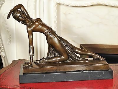 Stunnig Bronze Statue Sculpture Dancing Girl Figurine after D Chiparus Interior