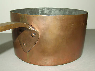 Antique 19th C. Signed Brass Copper Cooking Pot Saucepan with Hand Forged Handle