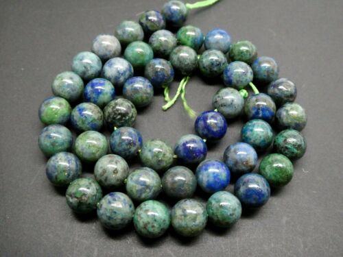 """Natural Genuine Azurite Gemstone Lapis Malachite Round 8mm Bead Strand 16"""""""