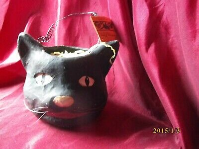 EARLY RARE BETHANY LOWE HALLOWEEN BLACK CAT BUCKET CANDY CONTAINER