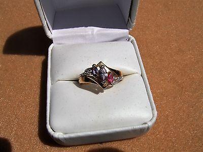 vintage estate 10k yellow gold gemstone & diamond ring size 7 3/4