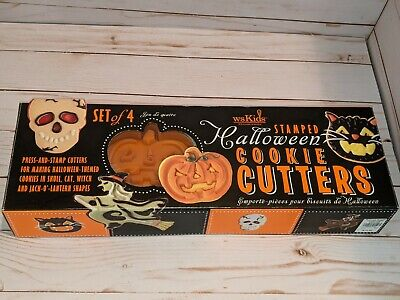 William Sonoma Halloween Press & Stamp Cookie Cutters Witch Cat Skull