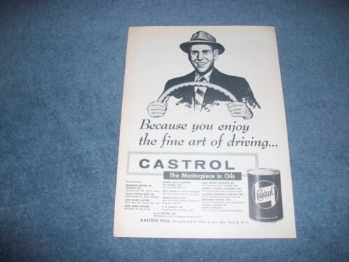 "1956 Castrol Motor Oil Vintage Ad ""Because You Enjoy the Fine Art of Driving..."""